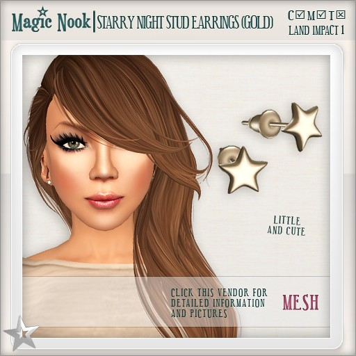 [MAGIC NOOK] Starry Night Stud Earrings (Gold) MESH