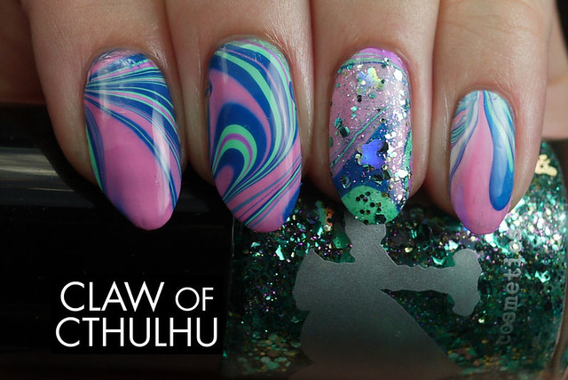 Bestie Nail Art Challenge - Week Five: Water Marble (Rainbow Honey Midnight Garden Creme Water Marble)