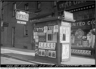 News box, north-east corner of Broadview Avenue and Queen Street East