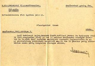 II/3. Csendőri jelentés Szállasi Ferenc mezőberényi látogatásáról. 1941. október. 06.