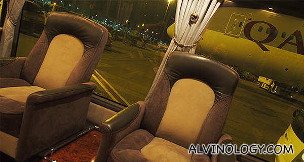 Seats in the VIP bus