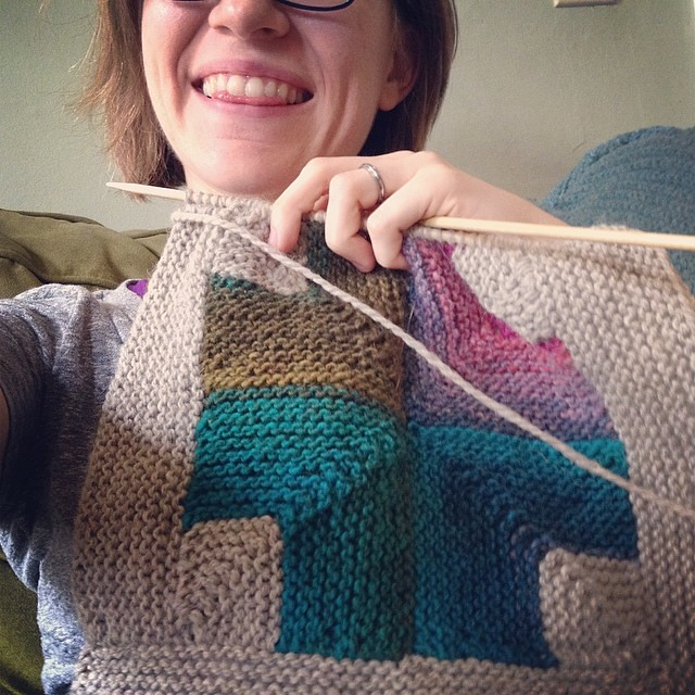 square number four: ready to knit the last side. #wipsunday