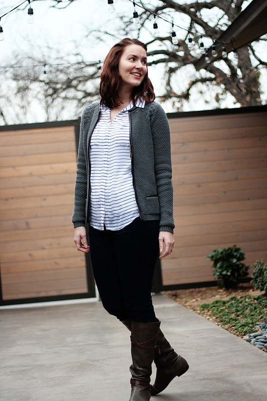 black-and-white-stripe-shirt-cardigan-jeans-1
