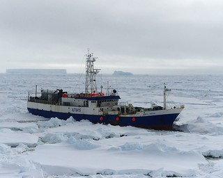 The disabled fishing vessel Antarctic Chieftain sits beset by ice near Cape Burks, Antarctica, Feb. 14, 2015. The crew of the Coast Guard Cutter Polar Star is on scene with the vessel to provide assistance and support. Polar Star's crew has been underway in Antarctica in support of Operation Deep Freeze 2015, part of the U.S. Antarctic Program, managed by the National Science Foundation. (U.S. Coast Guard photo by Petty Officer 1st Class George Degener)