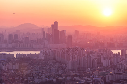 city travel pink sunset orange color canon asian eos asia korea seoul metropolis southkorea 6d