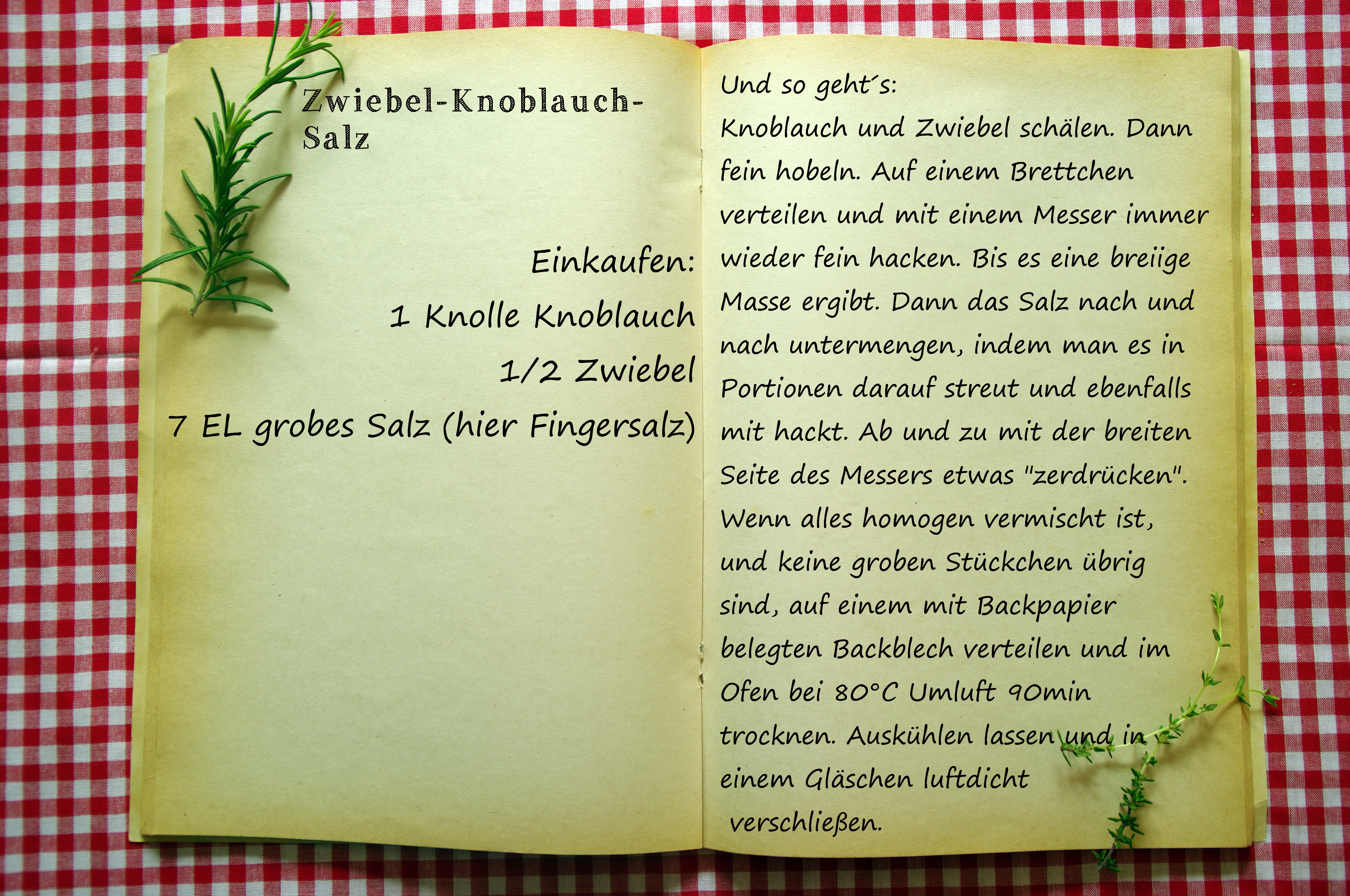 Einkaufszettel Knoblauch Zwiebel Salz by Glasgeflüster