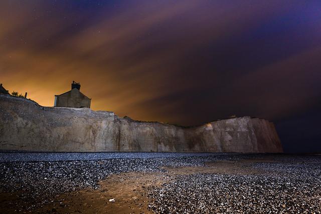 Birling Gap Coastguard Cottages at night