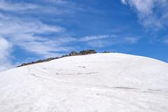 急斜面を登ると緩やかな傾斜の雪渓