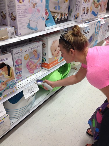 Angela picking out baby stuff