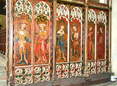 screen (south): Cherubim, Principalities, Thrones, Archangels, Angels and St Barbara (15th Century)