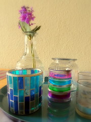purple, glass bottle, drinkware, bottle, lavender, mason jar, glass, vase,