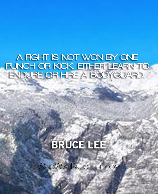 """A fight is not won by one punch or kick. Either learn to endure or hire a bodyguard."" - Bruce Lee"