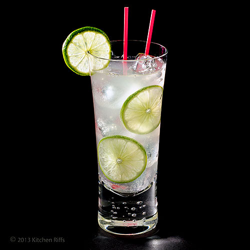 Gin Rickey Cocktail in tall glass with lime garnish