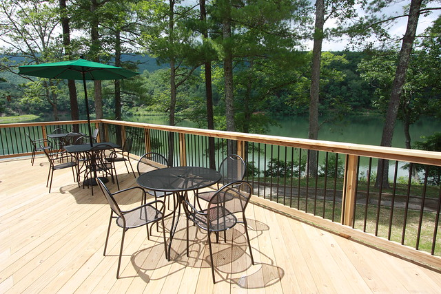 Enjoy dining outside on the deck overlooking the lake at Douthat Lakeview Restaurant
