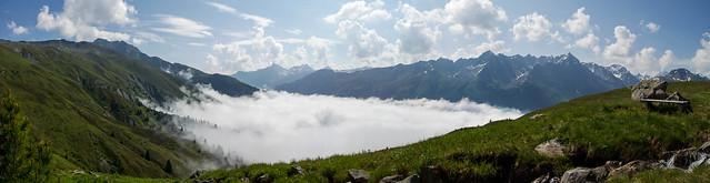 Wolken Meer über dem Paznaun - Panorama