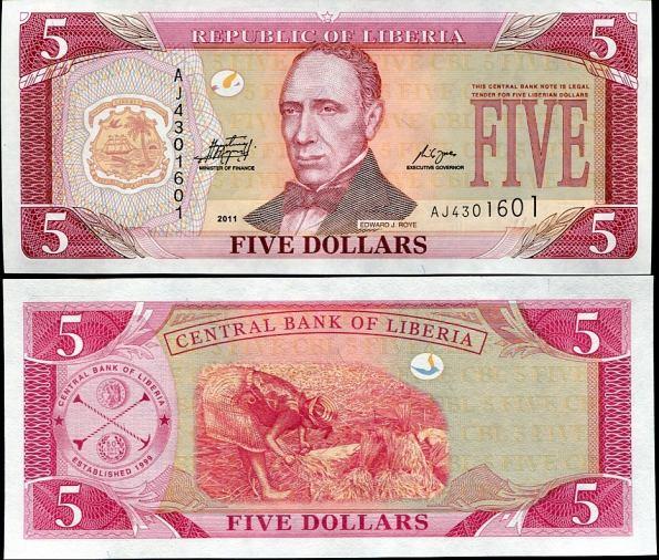 5 Dolárov Libéria 2011, Pick 26f