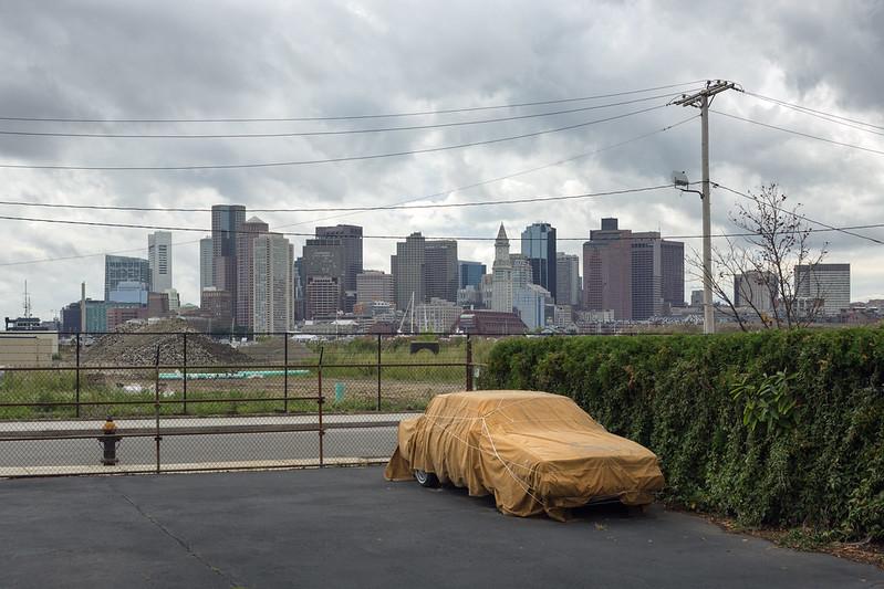 Covered Car, Boston Skyline