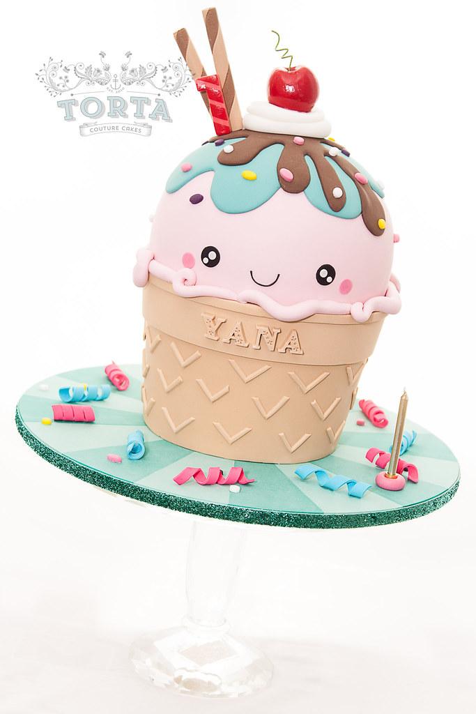 Tortacouturecakes Kawaii Ice Cream Cone Birthday Cake