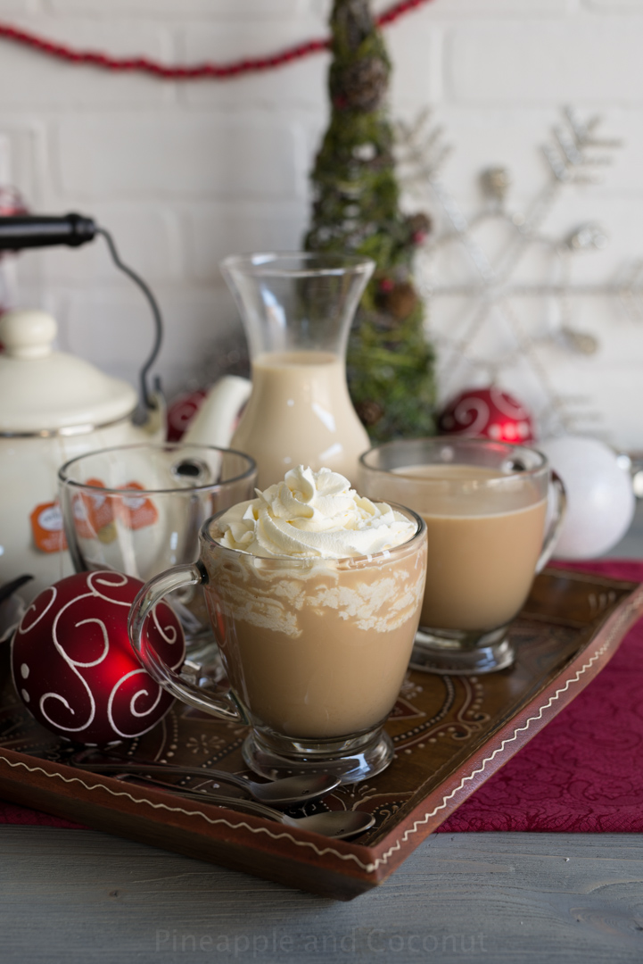 Aprés Ski Boozy Tea (with homemade vanilla maple coffee creamer) #holidayfoodparty www.pineappleandcoconut.com