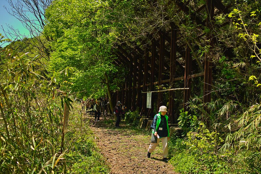 落石防止柵と線路跡