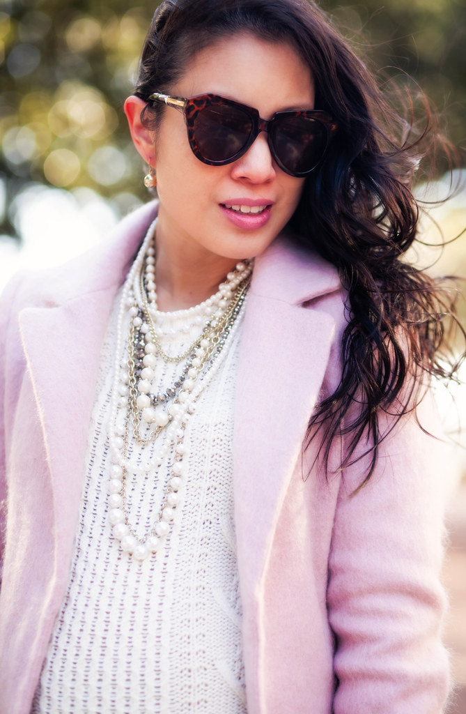 cute & little blog | petite fashion maternity | pink wool coat, pearl necklace, chunky white sweater | winter layers outfit