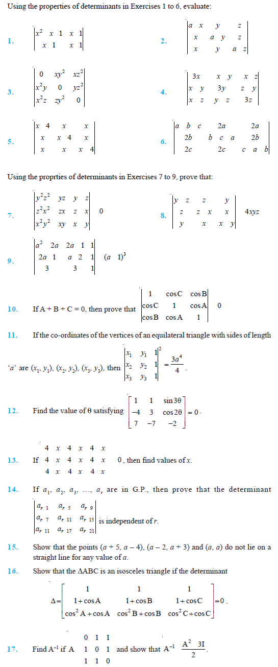 Class 12 Important Questions for Maths -Determinants