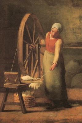 糸紡ぎ、立像