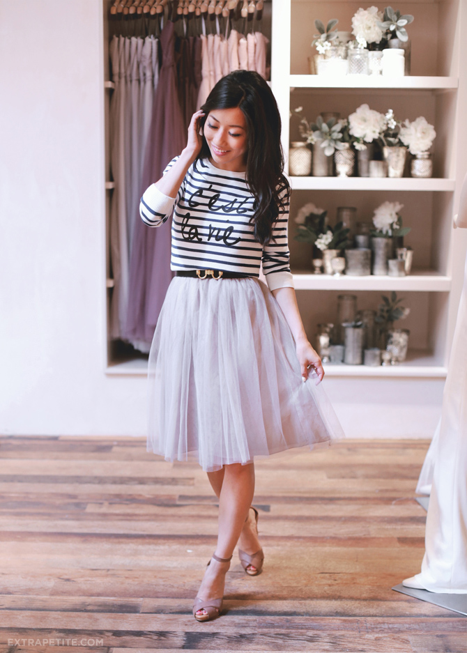 BHLDN bridesmaid jenny yoo stripe sweater