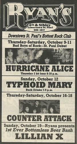 10/09-11/86 Hurricane Alice @ Ryan's, St. Paul, MN