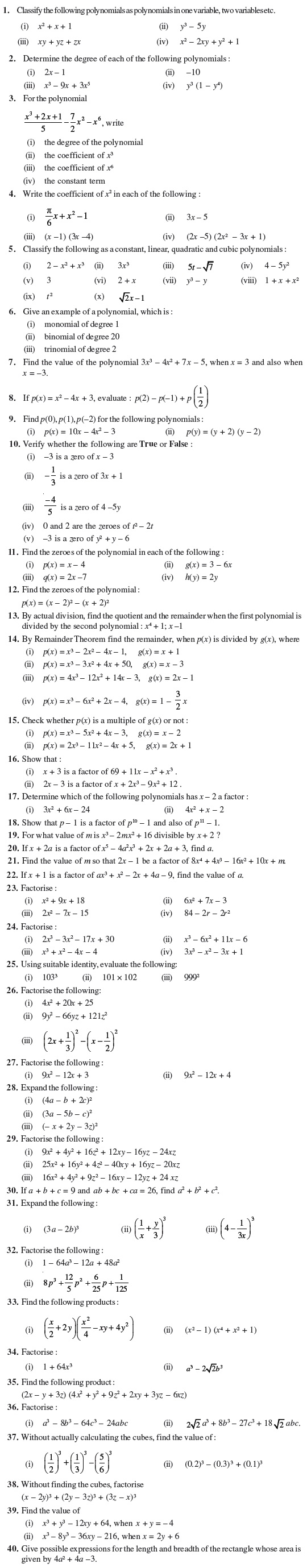 Class 9 Important Questions for Maths - Polynomials