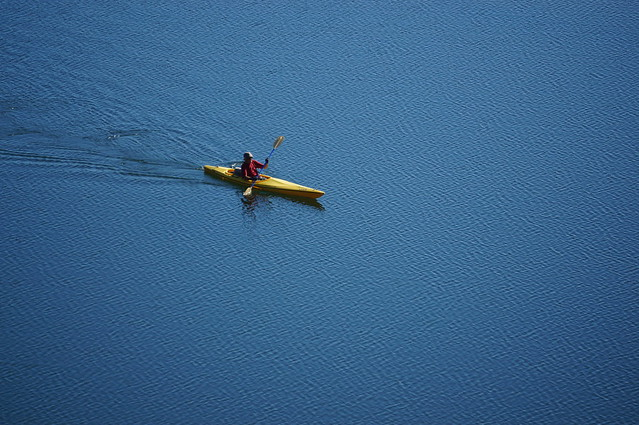 Kayaker in the Russian River near where the previous photo was taken.
