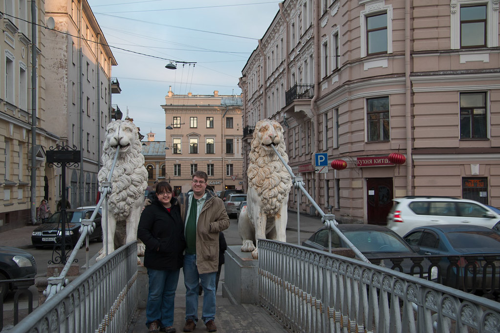 Ken and I on canal bridge in St. Petersburg Russia