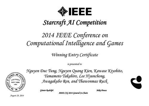 CIG2014 RTS Winning Cert.