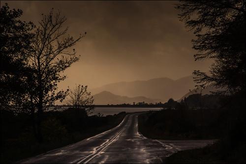 road trees light silhouette misty clouds scotland hills loch damp lochlinnhe southeastgang