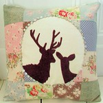 Deerly Loved Applique Cushion Cover