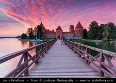 Lithuania - Trakai Island Castle - Trakų salos pilis - Medieval Gothic castle on an island in Lake Galvė - One of the country's major tourist attractions during dramatic sunset