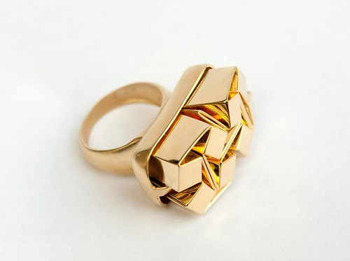 Gold-Coated Folded Brass Ring by Ilan Garibi