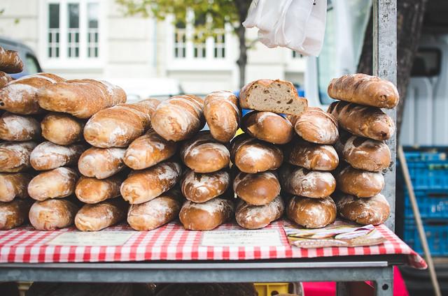 Beautiful fresh baked bread at Jiřího z Poděbrad Farmer's Market in Prague's Vinohrady neighborhood.