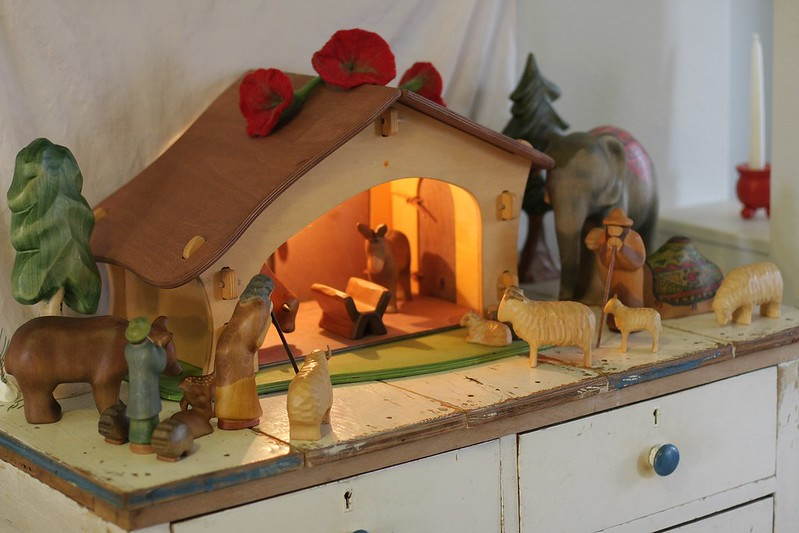 Our Nativity scene on the 4th Sunday of Advent - waiting for the Blessed family to arrive