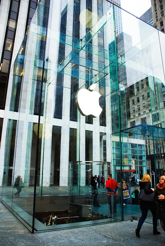 Apple Store glass cube New York City across from Plaza hotel