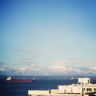The Olympic mountains on an amazingly clear day. It doesn't rain all winter in Seattle!