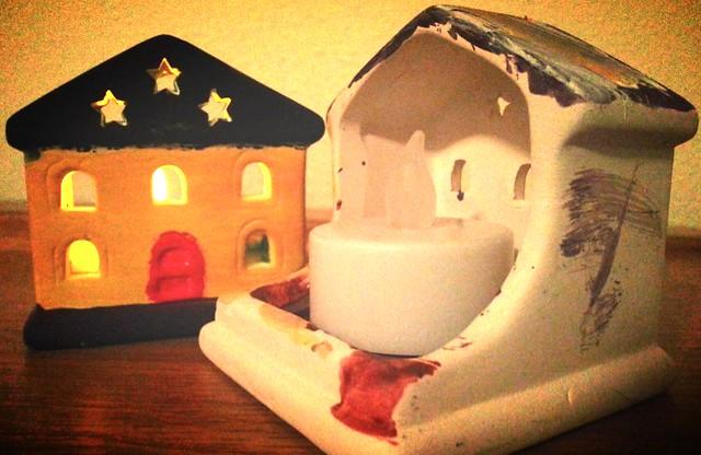 Baker Ross house tea light holders, Baker Ross Christmas crafts