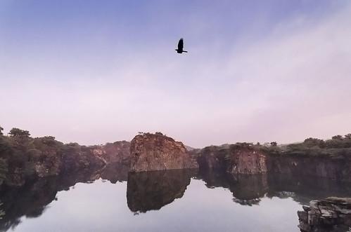 morning sky reflection bird water sunrise landscape rocks crow quarry sanctuary kanchipuram cwc sigma1020mm kalspics nikond7000 chennaiweelendclickers erumaiyur cwc397a