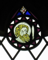 Medieval stained-glass fragments in a window of the Church of St Andrew, Folkingham, Lincolnshire, England