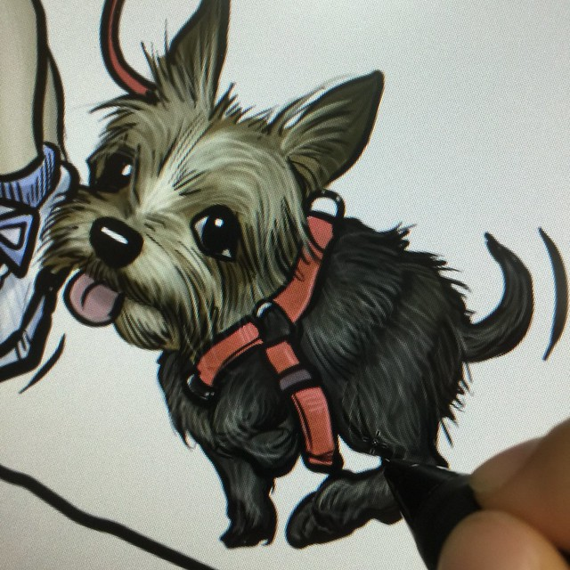 Digital dog caricature painting progress