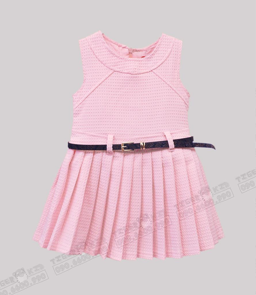 Đầm bé gái nhập khẩu xếp ly (hồng) cho bé gái từ 10-23 kg