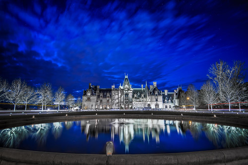 nightphotography reflection fountain architecture nikon asheville bluesky vanderbilt bluehour biltmore biltmoreestate d800 biltmorehouse richardmorrishunt wnc westernnorthcarolina ashevillenc pondreflection georgewashingtonvanderbilt ashevillencimages