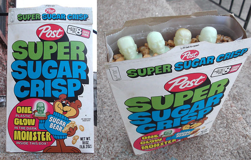 1976 Post Super Sugar Crisp Cereal Box Glow Monster Head