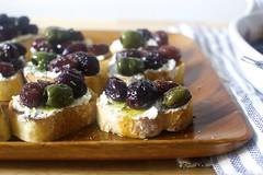 roasted grape and olive crostini
