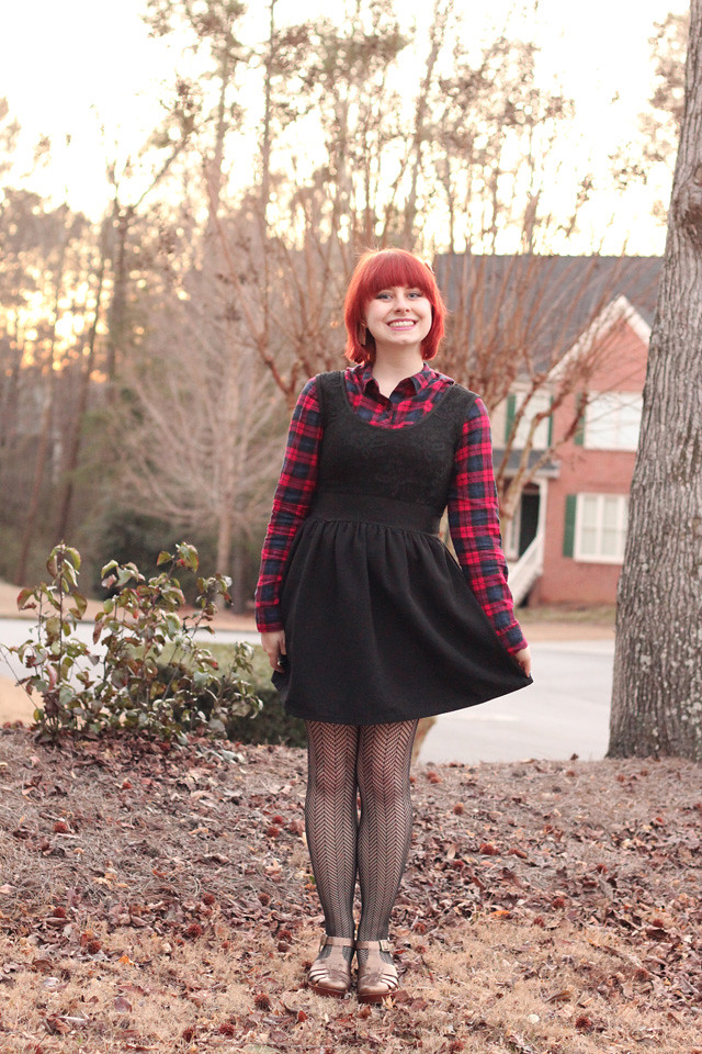 Outfit: Sleeveless Black Dress over a Plaid Shirt ...